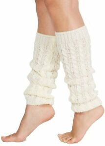 Hue Womens One Size Fits Most Soft Cable Sweater Knit Legwarmers Ivory