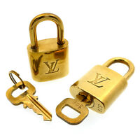 Authentic Louis Vuitton Set of 2 Key Lock Pad Lock & Key Gold Brass Used F/S
