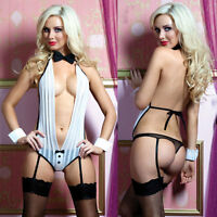 New Womens Sexy Lingerie Suit Nightwear V-neck Monokini Garter Belt + Hand Ring
