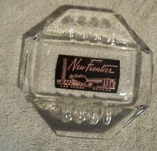 New Frontier Hotel Casino Black With Pink Print Vintage Glass Ashtray 1955