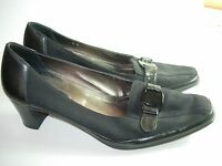 WOMENS BLACK LEATHER CREPE AMALFI LOAFERS CAREER PUMPS HEELS SHOES SIZE 9 M
