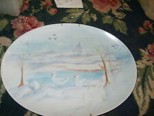 Holiday serving platter oval plate painted chic winter geese ducks snowy lake HP
