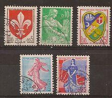 TIMBRE FRANCE OBLITERE LOT 5 TIMBRES TYPES DE 1957-1959
