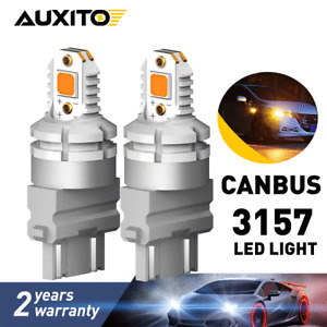2X AUXITO 3157 LED Turn Signal Parking Amber Yellow Light Bulb CANBUS Error Free