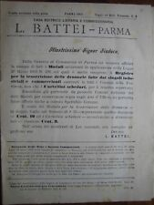 MATERIALE DIDATTICO CATALOGO LUIGI BATTEI CASA EDITRICE PARMA, 1911. MEDAGLIE