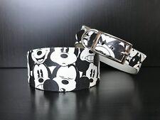 S/M Leather Dog Collar Whippet Lurcher Greyhound Saluki WHITE/BLACK MOUSEY PRINT