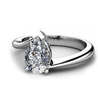 Diamantring Solitär 0.50 Ct. Tropfen Diamant, 18K 750 Weißgold + GIA Zertifikat