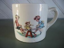 Vintage Childs cup mug Compliments HALL Furniture BUFFALO NY boy girl seesaw