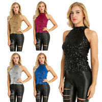 Women's Sequins Halter Neck Sleeveless Summer Short Vest Tank Tops Shirt Shiny