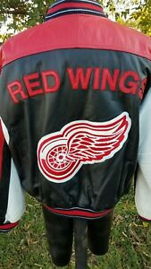 Retro DETROIT RED WINGS NHL G-III/Carl Banks LEATHER Jacket/Coat NWOT new XL