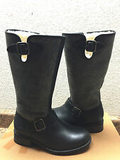 UGG CHANCERY BOMBER BLACK LEATHER WATER RESISTANT BOOTS US 6 / EU 37 / UK 4.5