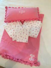 Pottery Barn Kids Pom Blanket Pillow Floral Full Sheets Pink Buds Monogram K