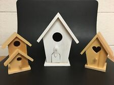 Lot Of 3 Birdhouses, Wood, Country Decoration