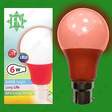 8x 6W LED Red Coloured GLS A60 Light Bulb Lamp BC B22, Low Energy 110 - 265V