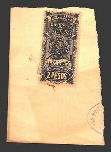 Uruguay ca1890 revenue 2 peso plowing cattle dairy coat of arms flags