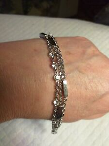 3 CHAIN+RECTANGULAR SECTIONS STAINLESS STEEL BRACELET BY FOSSIL+DIAMANTE DETAIL.