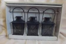 "3 Black Metal Lantern tealight holders, NIP,4"" tall"