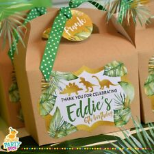Personalised DINOSAUR ANIMALS Safari Gold Green Kraft Box Birthday Party Bag