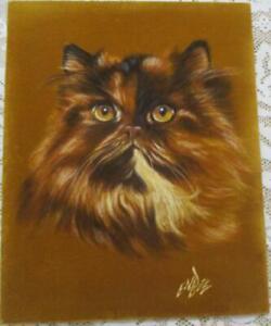 "Original Vintage Beautiful Persian Cat Painting on Felt Signed ENBEE 18"" x 14.5"""