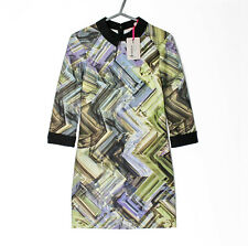 NWT! Ted Baker Parquet Geo Jersey Dress Size 2 (M) UK 10 Multicoloured RRP £139!