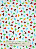 Timeless Treasures Fabric - Tossed Red Blue Green Mini Elephant White YARDS