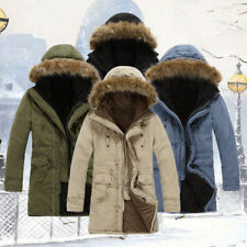 Winter Mens Warm Down Cotton Jacket Fur Collar Thick Hooded Coat Outwear Parka