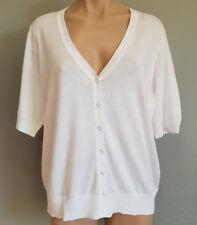 BNWT Womens Sz L 16 Mix Brand White Short Sleeve V Neck Cardigan
