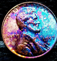 """1957 D Lincoln Wheat Penny Cent- """"Beautiful Toning"""" SUPERB GEM HIGH GRADE #06"""