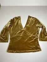 Soft Surroundings Gold Stretch Velour Velvet V-neck Wrap Ballet Top Womens M