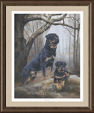 More details for rottweiler limited edition dog print 'boys in the wood' by lynn paterson