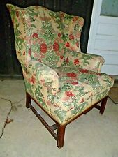 Vintage Chinese Dragon wingback upholstered Asian Chair mid century antique