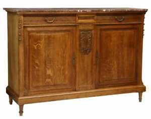 ANTIQUE FRENCH OAK LOUIS XVI STYLE MARBLE-TOP SIDEBOARD COMMOMDE CHEST SERVER