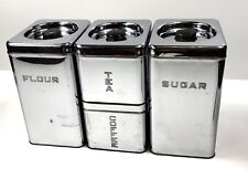 Vintage 1950's Lincoln BeautyWare Chrome Kitchen Canisters - Set of Four