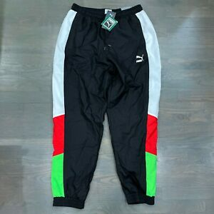 Puma TFS OG Track Pants Black Green Red Windbreaker Men's Size L New 596474-51