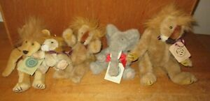 Vintage   Lot of 5  -  BOYDS BEARS    Retired Plush   LIONS & ELEPHANT  w/ Tags