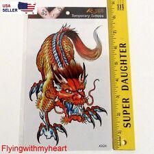 Large Tattoo Dragon Rose Skull Eagle Bird Fish Elephant Waterproof Sticker