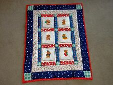 "CHRISTMAS BEARS PATCHWORK HOME MADE QUILT lap child wall hanging USA 35"" X 46"""
