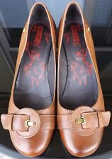 PIKOLINOS Womens Brown Leather Slip On Wedge Shoes Size 40 Buckle Strap Accent