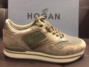 HOGAN Donna sneaker 222 in camoscio e tela bronzo N39 SCONTO 50%