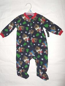 Girls and Boys Holiday Moose Print Size 3-6 M Long Sleeve Colorful Kids