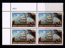 US USA Sc# 3286 MNH FVF PLATE # BLOCK Irish Immigration Sailing Ship New York