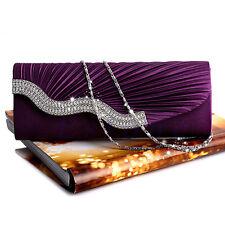 Satin Pleated Rhinestone Evening Handbag Wedding Bridal Party Clutch Purse Hot