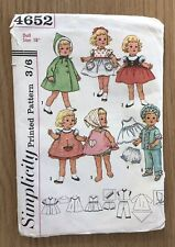 """A Vintage Simplicity Sewing Pattern - Doll's Clothes - 18"""" - 1960s"""