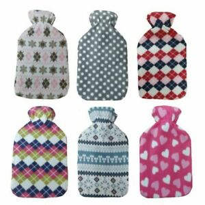 2L HOT WATER BOTTLE WITH SOFT COVER Fleece Natural Rubber Winter Warm-uk