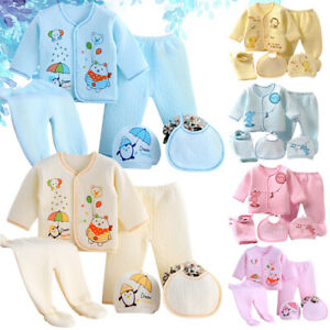 5Pcs Newborn Baby Boys Girl Clothes Unisex Infant Outfits Layette Set Clothing