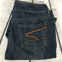 Seven7 Sexy Flare Dark Blue Distressed Women's Denim Jeans Size 30 30x34