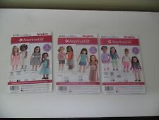 LOT o 3 American Girl 18 inch Doll Clothes Sewing Patterns by SIMPLICITY (Uncut)