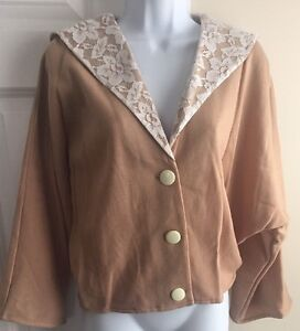 Honey Collection Women's Lightweight Short Camel Jacket with Lace Collar Size M
