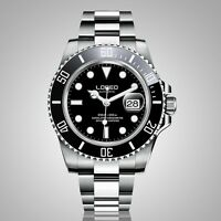 Loreo Pro Diver Men's Automatic Watch with Black Dial Display steel Sub 200m new