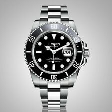 Loreo Pro Diver Men's Automatic Watch with Black Dial Display steel Sub 200m
